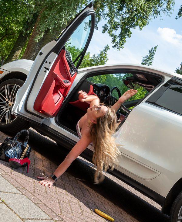 porsche macon fashion blog topshop girl car falling creative photoshoot white car red leather