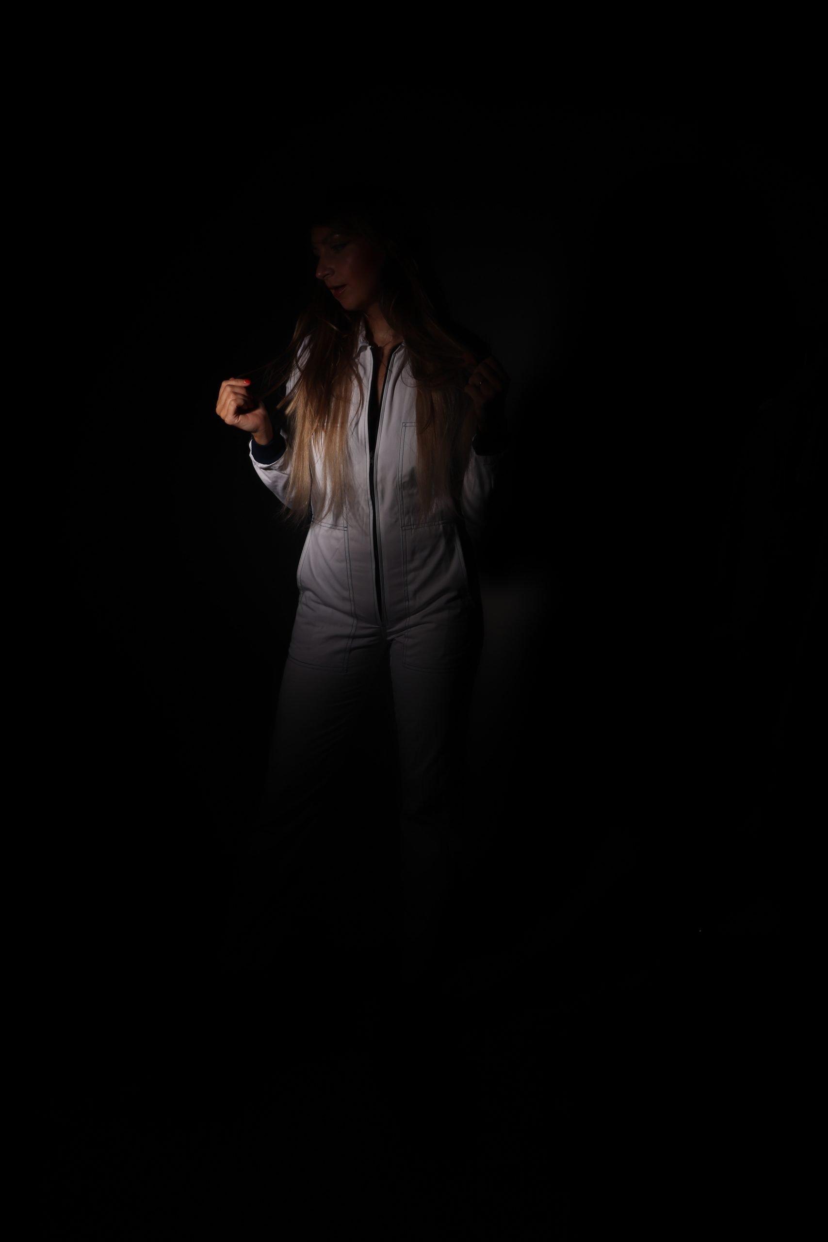 yamaha overall workwear white jumpsuit dark photo studio fotostudio