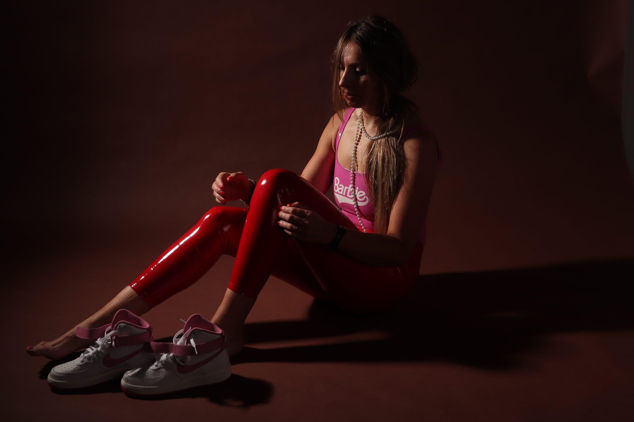 patent leggings laklegging rood barbie lak nike custom wit roze